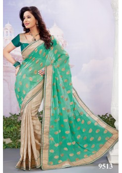 Teal green & Beige saree