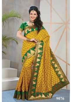Yellow/Green South silk saree