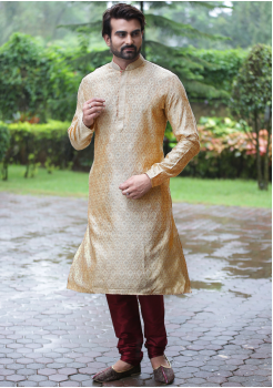 Gold with Maroon Color Silk Fabric Kurta Set