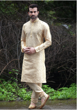 Golden Cream Color Silk Kurta Set