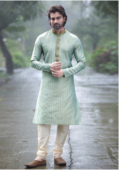 Light Cyan with Cream Color Silk Kurta Set