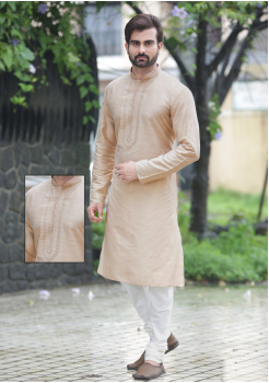 Light Gold with White Color Silk Kurta Set