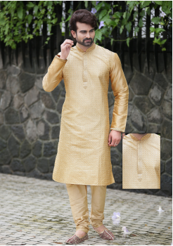 Gold Color Silk Kurta Set