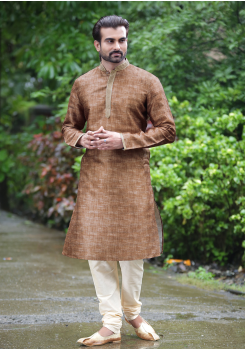 Brown Color Silk Kurta Set