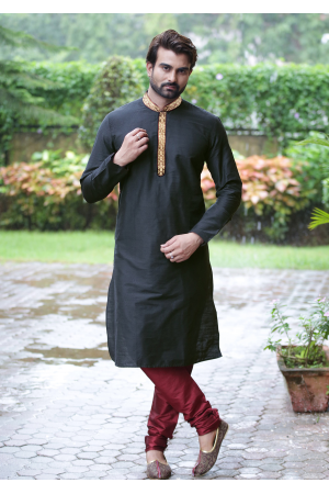 Black with Maroon Color Silk Kurta Set