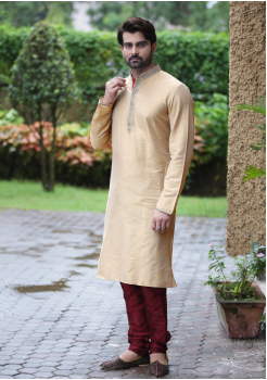 Sandal with Maroon Color Silk Kurta Set