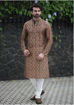 Brown with White Color Silk Fabric Kurta Set