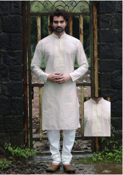 White Color Silk Kurta
