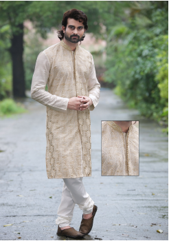 Cream with White Color Silk Fabric Kurta Set