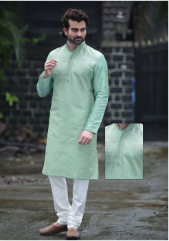 Cyan with White Color Silk Kurta Set
