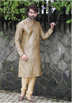 Cream with Gold Color Silk Kurta Set