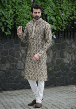 Cream with Black printed Silk Kurta Set
