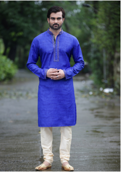 Azure Blue Color Silk Kurta Set