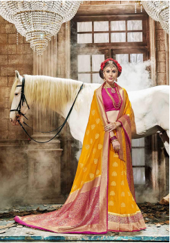 Yellow with Pink Color Designer Raw Silk  Saree