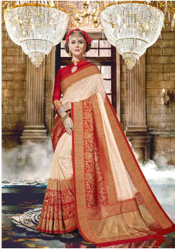 Cream with Red Color Designer Raw Silk  Saree