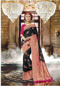 Black with Rani Color Designer Raw Silk  Saree