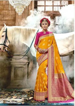 Canary Yellow with Pink Color Designer Raw Silk  Saree