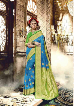 Sky Blue with Green Color Designer Raw Silk  Saree