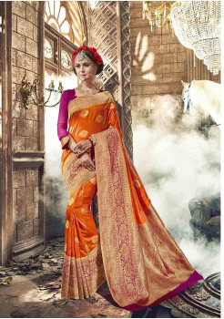 Yam Orange with Pink Color Designer Raw Silk  Saree