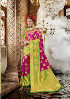 Rani with Green Color Designer Raw Silk  Saree