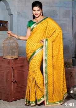 NYLON BANARASI YELLOW COLOR SILK SAREE