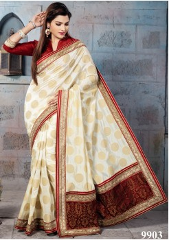 NYLON BANARSI CREAM COLOR SAREE
