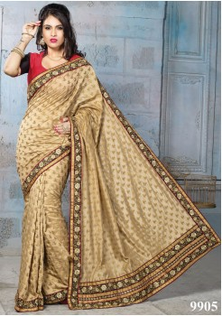NYLON BANARSI GOLD COLOR SILK SAREE