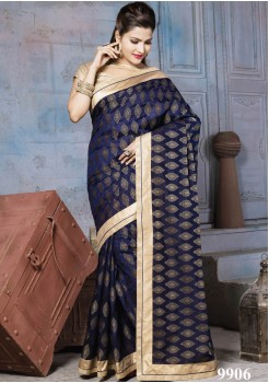 NYLON BANARSI NAVY BLUE SAREE