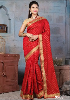 NYLON BANARSI RED SILK SAREE
