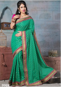 NYLON BANARSI GREEN SILK SAREE