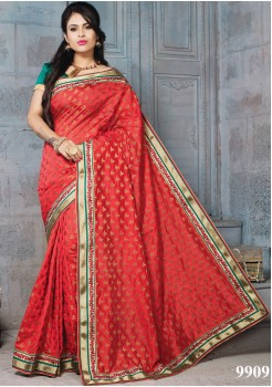 NYLON BANARSI RED COLOR SILK SAREE