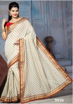 NYLON BANARSI GOLD AND CREAM SILK SAREE