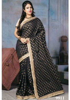 NYLON BANARSI BLACK SAREE