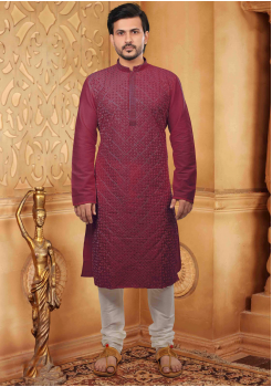 Maroon with White Color Silk Kurta Set
