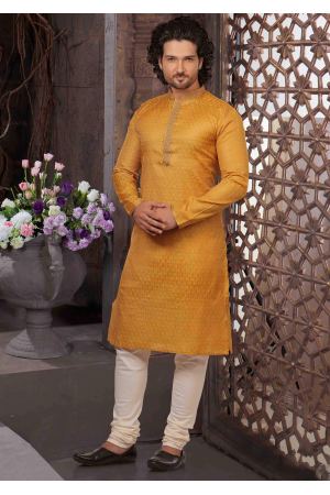 Golden with White Color Silk Kurta Set