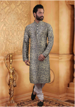 Bluish Grey with Cream Color Silk Kurta Set