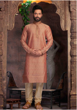 Cantaloupe with Cream Color Silk Kurta Set