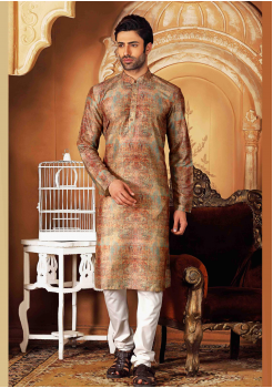 White with Multi Color Silk Kurta Set