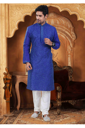 Navy Blue with White Color Silk Kurta Set