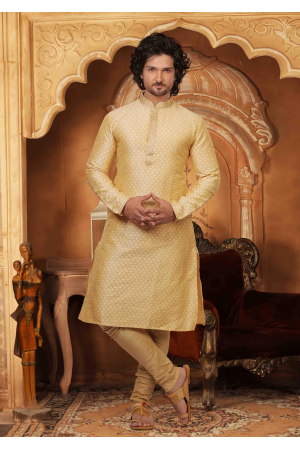 White with Cream Color Silk Kurta Set