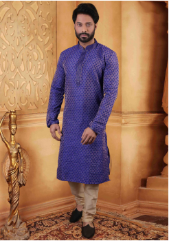 Ink Blue Color Silk Kurta Set