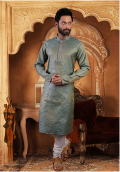 Teal Blue Color Silk Kurta Set