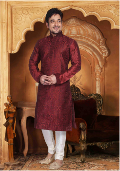 Brown with White Color Silk Kurta Set