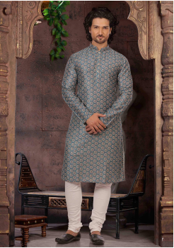 Sapphire with White Color Silk Kurta Set