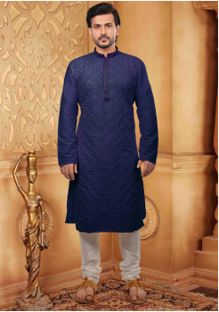 Denim Blue with White Color Silk Kurta Set