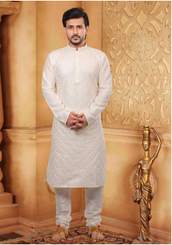 Pure White Color Silk Kurta Set