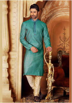 Ocean Blue Color Silk Kurta Set