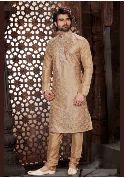 Golden Color Silk Kurta  Set