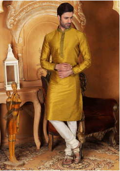 White with Golden Color Silk Kurta  Set
