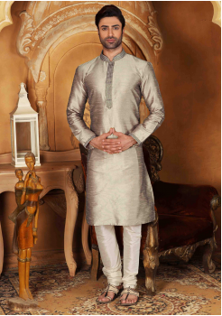 White with Silver Color Silk Kurta  Set